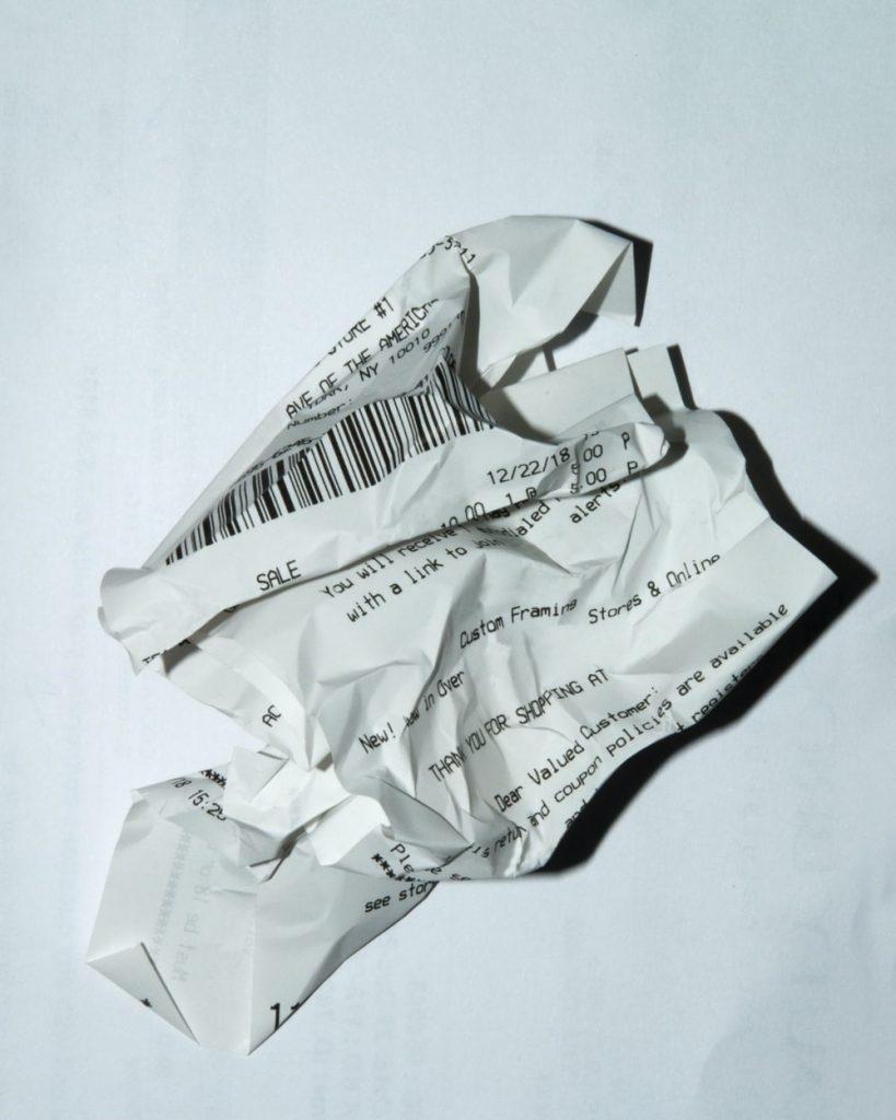 barcode on a receipt.
